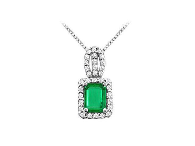 Frosted Emerald and Cubic Zirconia with 3.50  Carat Pendant in White Gold 14K