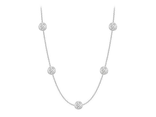 CZ By The Yard Necklace Designer in 14K White Gold 25 Carat TGW with 36 Inch Cable Chain