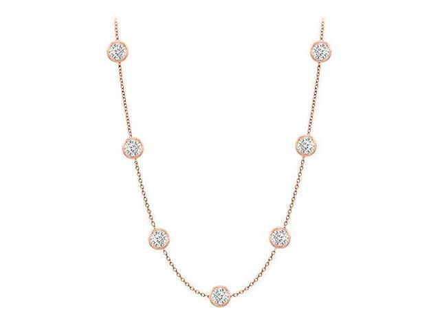 Diamonds By The Yard Necklace in 14K Rose Gold Bezel Set 0.75ct.tw