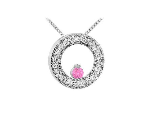Pink Sapphire and Diamond Circle Pendant  14K White Gold - 1.00 CT TGW