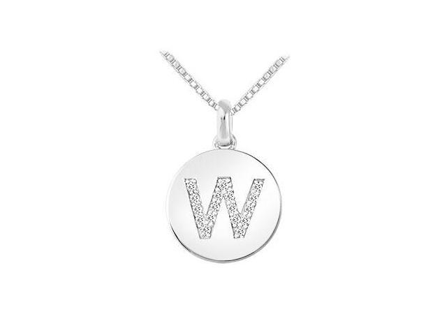 Diamond Disc Initial W Pendant  14K White Gold - 0.20 CT Diamonds