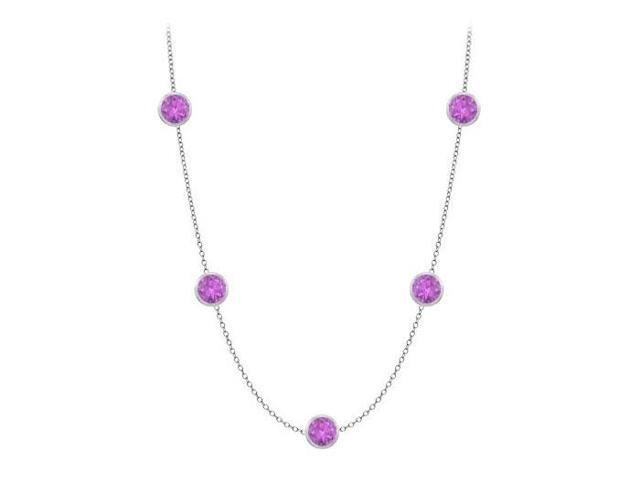 Amethyst by the yard 36 inch long necklace in 14K white gold 25 carat tgw Cable Chain 36 Inch