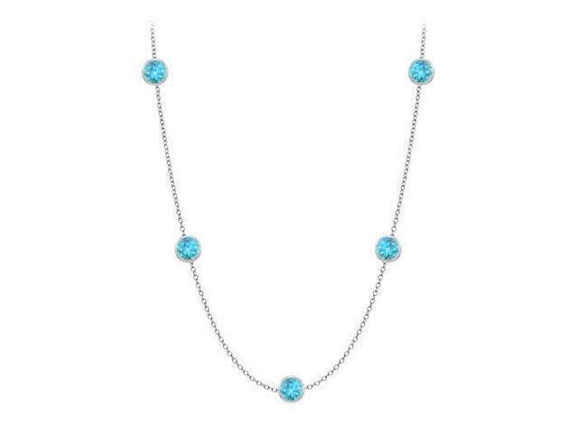 Blue Topaz By the Yard Necklace 20 Carat TGW in 14K White Gold Complete Yard Length