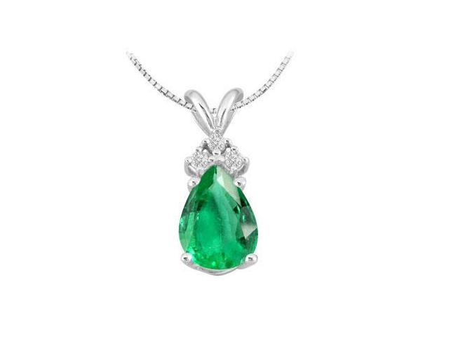 Cubic Zirconia Round with Pear Shape Frosted Emerald Pendant in 14K White Gold 1.81 Carat TGW