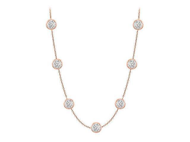 Diamonds By The Yard Necklace in 14K Rose Gold Bezel Set 1.25 ct.tw