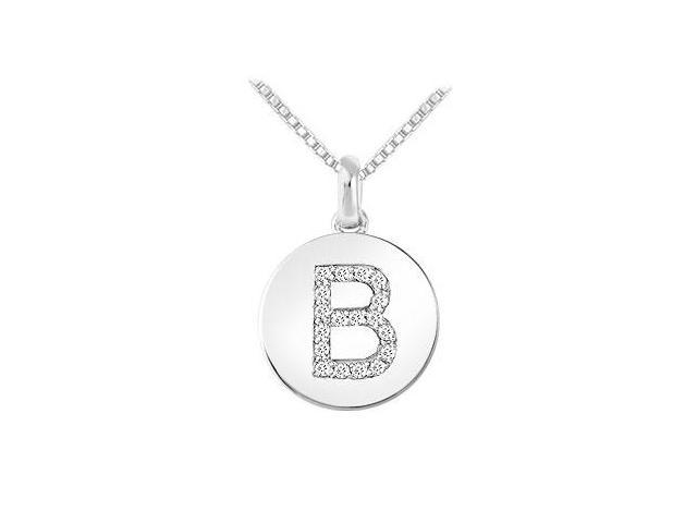 Diamond Disc Initial B Pendant  14K White Gold - 0.20 CT Diamonds