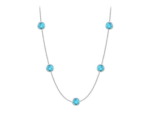 14K White Gold 36 Inch Necklace by the Yard with Blue Topaz 25 carat TGW Cable Chain 36 Inch