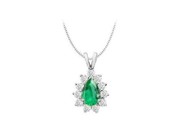 Pear Shape Frosted Emerald with Cubic Zirconia Round Pendant 2.75 Carat TGW  in White Gold 14K