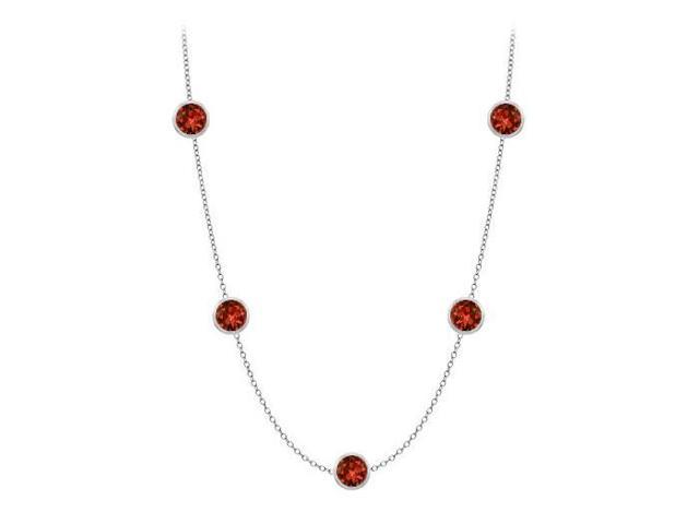 Bezel set garnet by yard necklace in white gold 14k 25 carat with 36 inch long