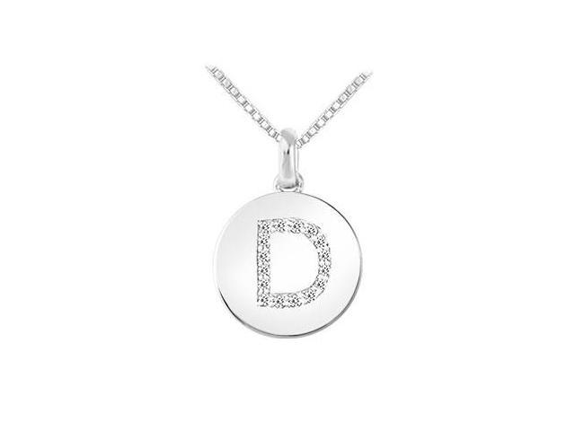 Diamond Disc Initial D Pendant  14K White Gold - 0.15 CT Diamonds