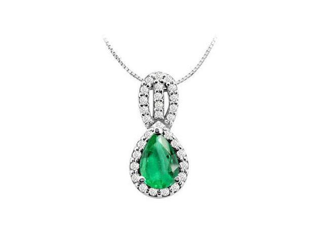 Frosted Emerald Pear Shape with Round CZ Pendant in 14K White Gold 2.25 Carat TGW