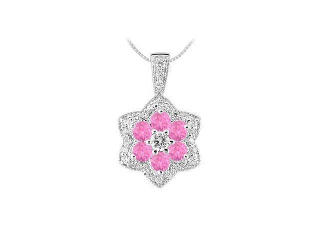Pink Sapphire and Diamond Pendant  14K White Gold - 2.25 CT TGW