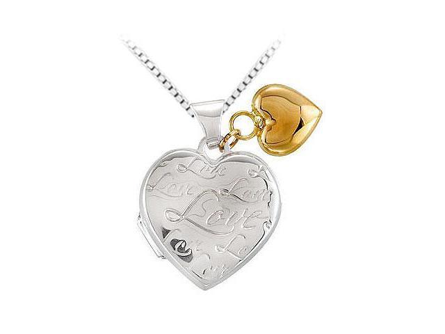 Sterling Silver Heart Locket with 14K Yellow Heart Dangle Pendant - 24.00 X 18.00 MM