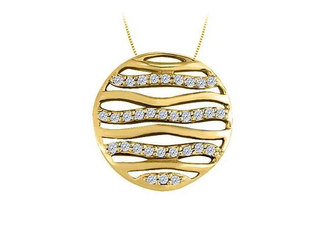 Cubic Zirconia Circle Fashion Pendant in Gold Vermeil over Sterling Silver 0.50 CT TGW