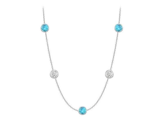 Gemstone Station Necklace CZ and Blue Topaz 25 Carat in 14K White Gold with 36 Inch Long