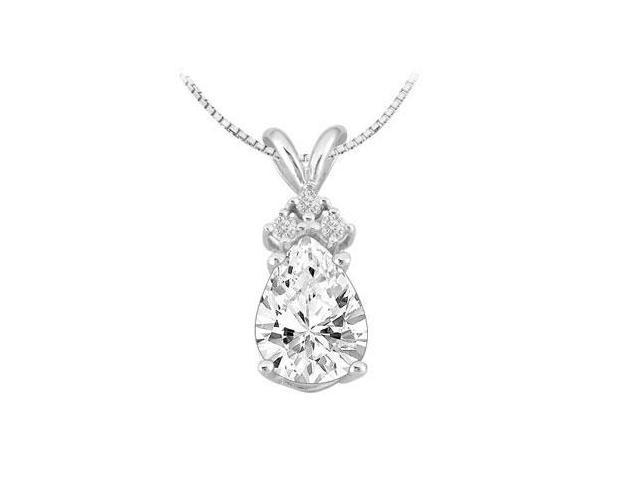 Round and Pear Shape Cubic Zirconia Pendant in 14k White Gold 2.60 Carat TGW