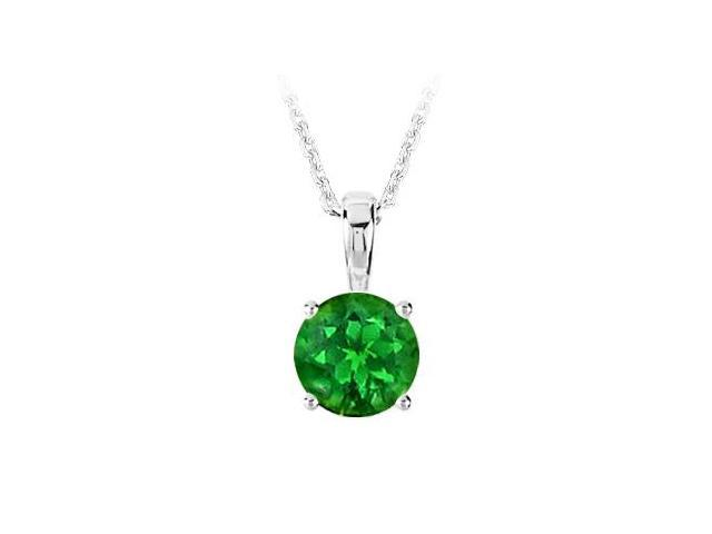May Birthstone Created Emerald Pendant in 925 Sterling Silver 1.00 CT TGW
