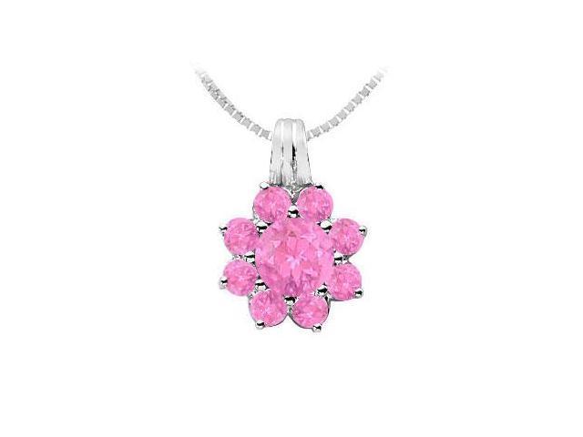Pink Sapphire Flower Pendant  14K White Gold - 2.75 CT TGW