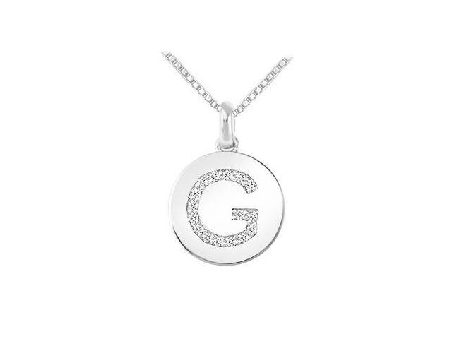 Diamond Disc Initial G Pendant  14K White Gold - 0.15 CT Diamonds