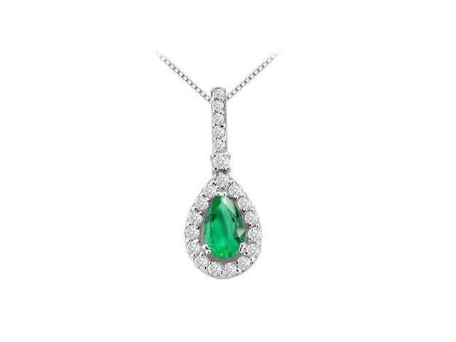 fashion pendant pear shape Frosted Emerald and round cubic zirconia in 14k white gold 1.50 carat
