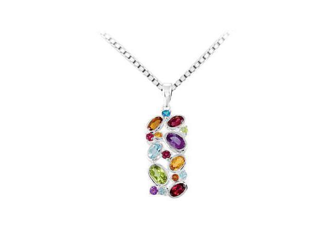Sterling Silver Multi-Color Gemstone Pendant