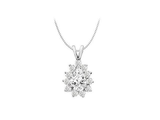14K White Gold Pendant with Round and Pear Shape Cubic Zirconia with 3.50 Carat TGW