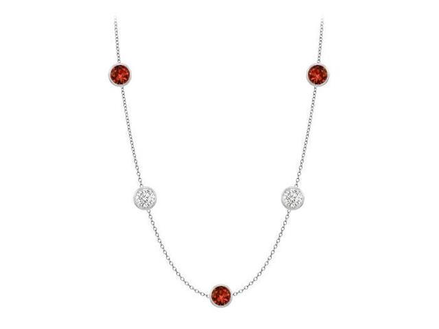 Bezel Set Garnet By the Yard Necklaces with CZ 25 Carat TGW in 14K White Gold 36 Inch Length