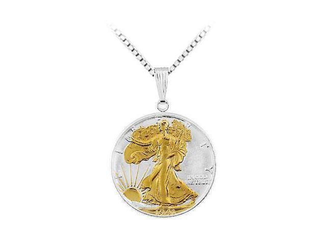 Goldplated Sterling Silver Walking Liberty 1/2 Dollar Set Into a Silver Coin Frame Pendant