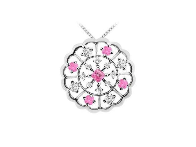 Pink Sapphire and Diamond Flower Pendant  14K White Gold - 1.00 CT TGW