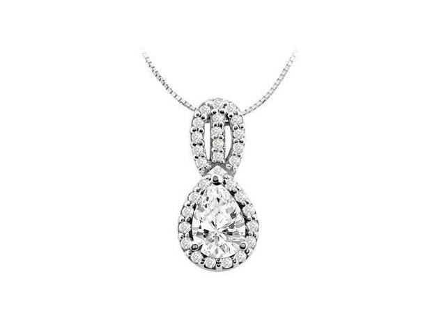 Three Carat Pendant of Cubic Zirconia Pear Shape and Round Brilliant cut in 14K White Gold