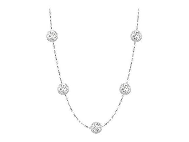Cubic zirconia by the yard 36 inch long necklace in 14K white gold 35 carat tgw with 36 Inch lon