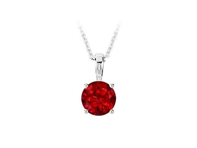 July Birthstone Created Ruby Pendant in 925 Sterling Silver 1.00 CT TGW