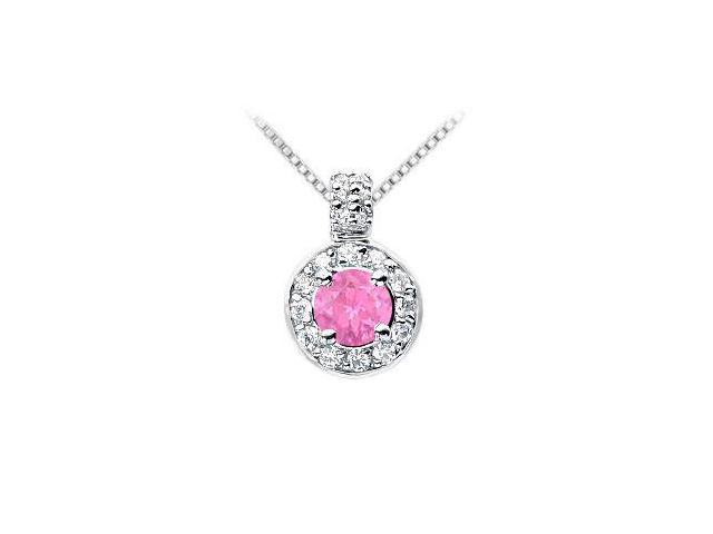 Pink Sapphire and Diamond Pendant  14K White Gold - 1.25 CT TGW