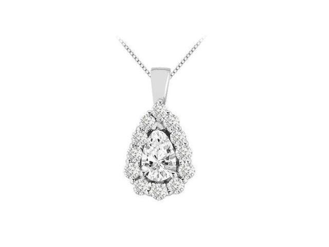 CZ Round and Pear Shape Pendant in 14K White Gold 3.75 Carat TGW