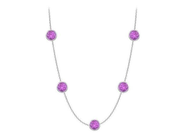 Bezel set amethyst by yard necklace in white gold 14k 35 carat with 36 inch long