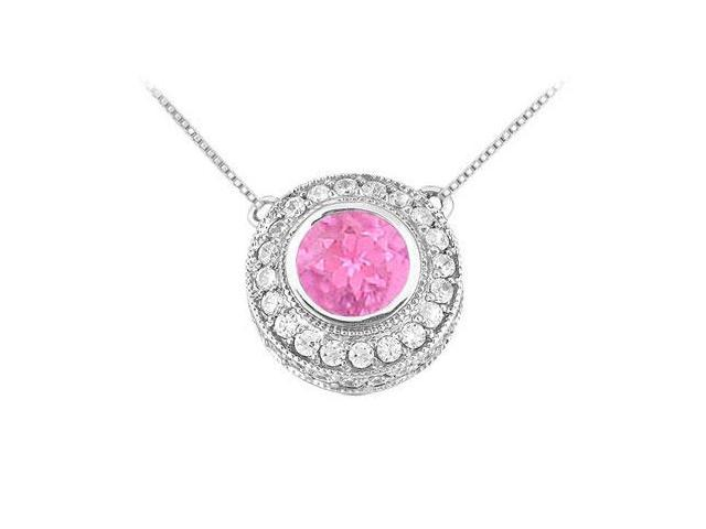 Pink Sapphire and Diamond Pendant  14K White Gold - 0.66 CT TGW
