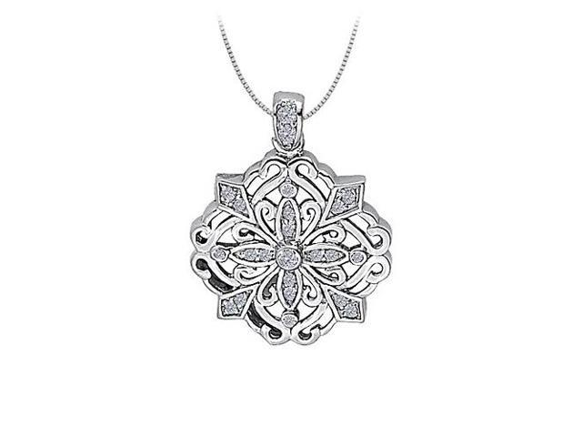 Diamond Square Like Shaped Pendant in 14K White Gold 1.50 CT TDWPerfect Jewelry Gift