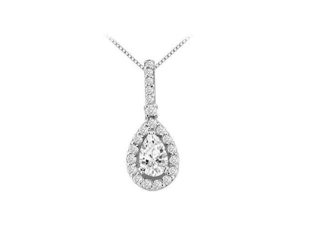Design pendant in 14k white gold  with cubic zirconia round and pear shape 2.50 carat tgw