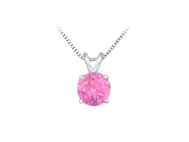 Created Pink Sapphire Prong Set Sterling Silver Solitaire Pendant 1.00 CT TGW