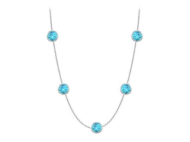 14K White Gold Bezel Set Blue Topaz Station Necklace by the Yard 35 ct tgw with 36 Inch Long