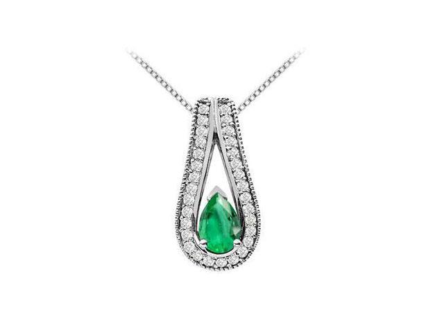 Pear Shape Pendant with Frosted Emerald and Cubic Zirconia in 14K White Gold Two Carat TGW