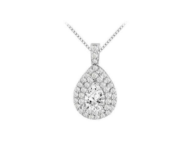 14K White Gold Pendant Cubic Zirconia Round and Pear Shape with Three Carat TGW