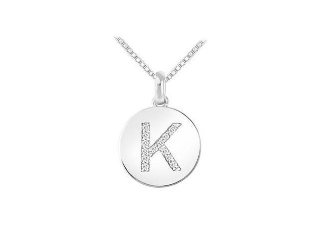 Diamond Disc Initial K Pendant  14K White Gold - 0.15 CT Diamonds