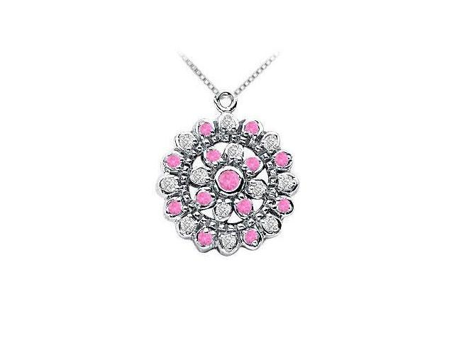 Pink Sapphire and Diamond Flower Pendant  14K White Gold - 0.50 CT TGW