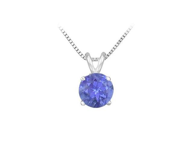 Created Tanzanite Prong Set Sterling Silver Solitaire Pendant 1.00 CT TGW