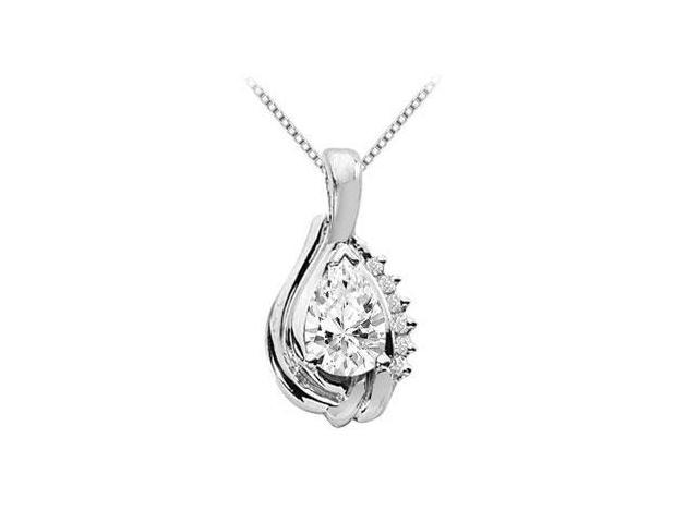 White Gold 14K Fashion Pear Shape Pendant with 2.06 Carat Cubic Zirconia
