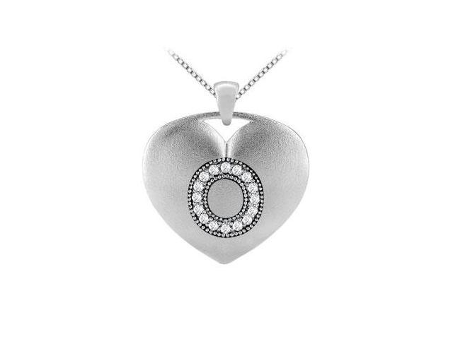 Initial O Heart Diamond Pendant in White Gold 14K with 0.16 ct Diamonds