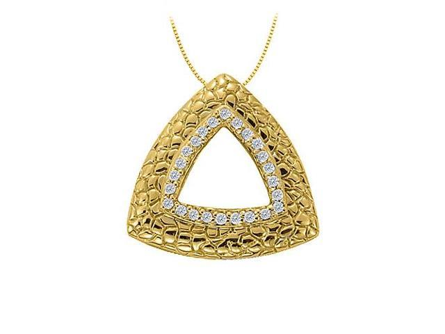 Cubic Zirconia Triangle Shaped Fashion Pendant in 14K Yellow Gold Vermeil over Sterling Silver