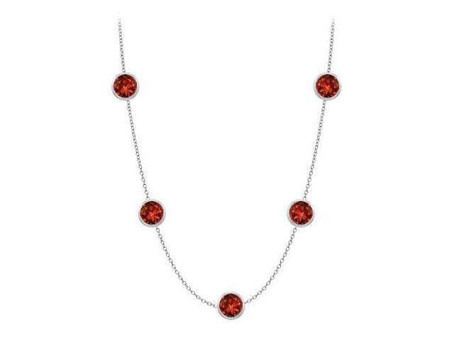 By the yard Necklaces in 14K White Gold 35 Carat Garnets and Cubic Zirconia with 1 Yard Long