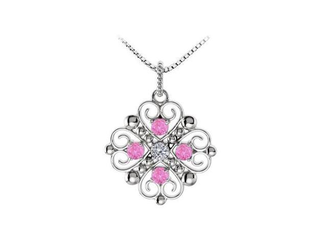 September Birthstone Created Pink Sapphire and CZ Heart Pendant in 14kt White Gold 0.50 CT TGW